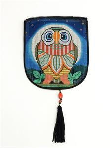 "Bag Flap ~*FLAP ONLY* OWL Evening Bag ""Style A"" handpainted Needlepoint Canvas by Sophia"