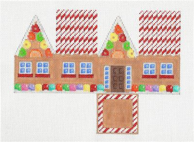 Canvas- Candy Cane Roof Gingerbread 3-D Cottage HP Needlepoint Canvas Assoc.Talents