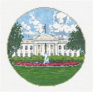 Canvas-WHITE HOUSE in WASHINGTON, DC Needlepoint Canvas HP by Sandra Gilmore