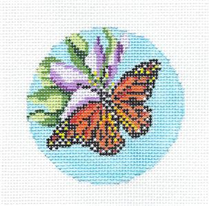 "Canvas~ Monarch Butterfly on Flower 3"" Rd. handpaint Needlepoint Canvas Needle Crossings"