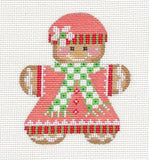 Gingerbread Girl #1 Needlepoint Canvas Ornament with Stitch Guide by Danji Designs