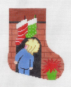 "Stocking~LEE ""Where's Santa"" Boy Mini Stocking handpainted Needlepoint Canvas"
