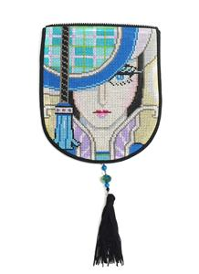 "Bag Flap ~*FLAP ONLY* ELEGANT LADY Evening Bag ""Style A"" Needlepoint Canvas by Sophia"