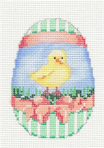 Easter Egg~Baby Chick w/ Peach Bow Easter Egg HP Needlepoint Ornament by Associated Talents