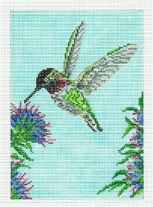 Canvas~Anna's Hummingbird Bird handpainted 18m Needlepoint Canvas Needle Crossings