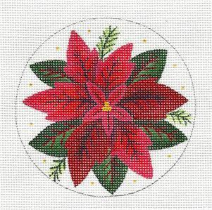 Round ~ Red Poinsettia Blossom Ornament handpainted Needlepoint Canvas by Rebecca Wood *** MAY NEED TO BE SPECIAL ORDERED***