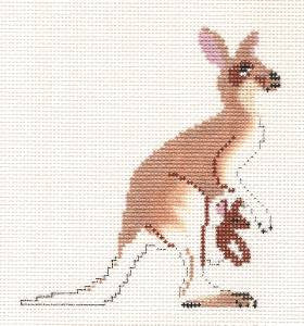 Canvas~ Kangaroo handpainted Needlepoint Canvas by Petei Designs P.Pony  **MAY NEED TO BE SPECIAL ORDERED**
