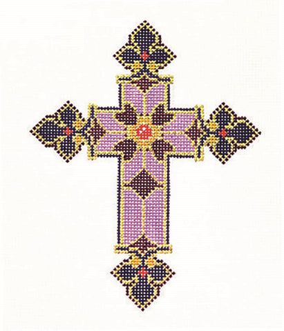 "Cross~ Elegant 7"" tall Purple & Red CROSS handpainted Needlepoint Canvas by LEE 13 Mesh"