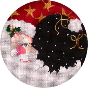 "Christmas-LG. SANTA MOON 5.75"" Rd handpainted Needlepoint Canvas by Associated Talents"