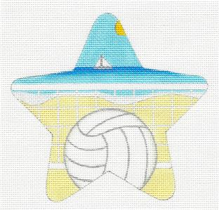 Star~BEACH VOLLEYBALL Sports Star HP Needlepoint Canvas by Raymond Crawford