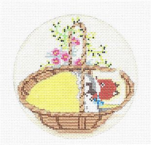 Baby Fox in Basket handpainted Needlepoint Canvas Ornament by Ciao Bella