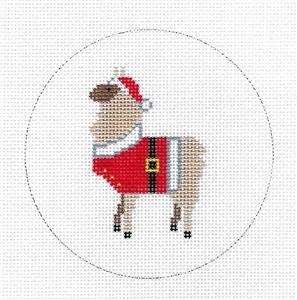 Round-LLAMA in Santa Suit handpainted Needlepoint Ornament Canvas by ZIA ~ Danji