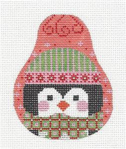 Pear~Happy Penguin Pear handpainted Needlepoint Canvas by CH Designs from Danji