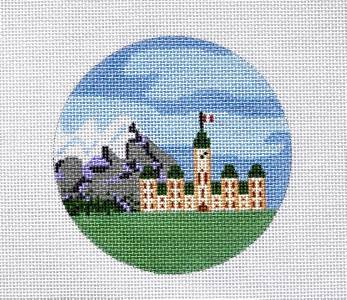 "Round~4""OTTAWA, CANADA ~ PARLIAMENT BLDG. Needlepoint Canvas Ornament ~ Painted Pony"