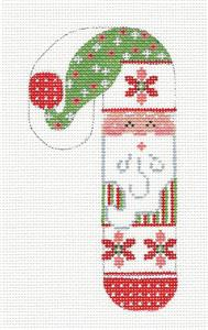 Medium Candy Cane Poinsettia Santa Candy Cane handpainted Needlepoint Canvas Danji