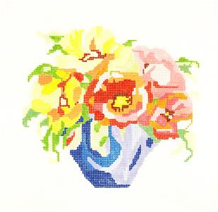 "Sm. Bouquet #11 handpainted 13m Needlepoint Canvas 8"" by Jean Smith"
