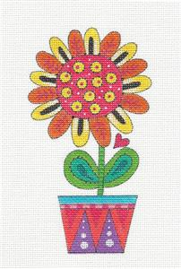 Canvas~Orange Daisy in a Pot handpainted Needlepoint Canvas by Mary Engelbreit