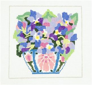 "Sm. Spring Violets handpainted 13m Needlepoint Canvas 8"" Sq. by Jean Smith"