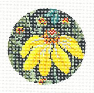 "Round~3"" Yellow Echinecea Flower Needlepoint Ornament or Insert handpaint Whimsy & grace"
