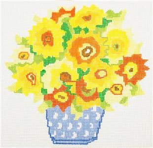 Sunny Yellow Bouquet handpainted 13m Needlepoint Canvas by Jean Smith's Designs