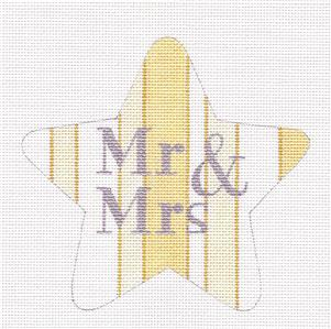 Star~MR. & MRS. STAR handpainted Needlepoint Canvas Love Ornament ~ Raymond Crawford
