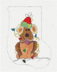Stocking ~ All Lit Up Dog handpainted Mini Sock Needlepoint Ornament Renaissance