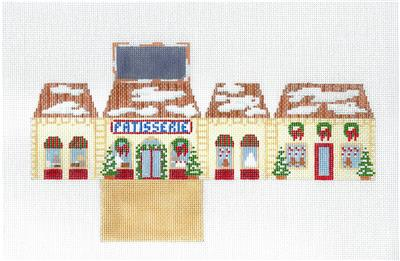 PATISSERIE BAKERY 3-D HOUSE handpainted Needlepoint Ornament by Susan Roberts **MAY NEED TO BE SPECIAL ORDERED**