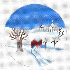 "Round~4"" VERMONT Winter Scene handpainted Needlepoint Canvas by Painted Pony ***SPECIAL ORDER***"