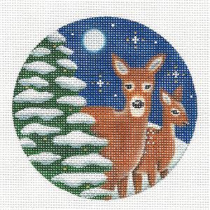 Round ~ 2 Deer in Snow & Moonlight handpainted Needlepoint Canvas by Rebecca Wood
