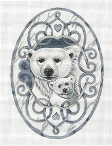 Canvas~ Polar Bear & Cub handpainted Needlepoint Canvas by LIZ from Susan Roberts