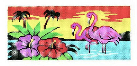 Canvas Insert~LEE Tropical Flamingo handpainted Needlepoint Canvas ~ BB Insert ~ 18 mesh