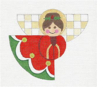 Christmas~ Christmas Angel in Red handpainted Needlepoint Canvas by Raymond Crawford