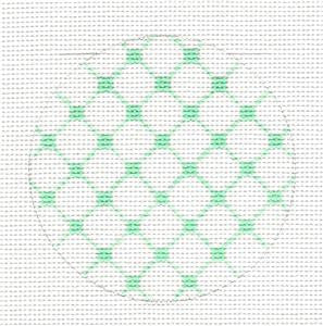 Round~Green Netting Design Rd. handpainted Needlepoint Canvas by SOS from LEE