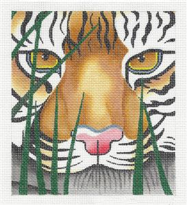 Canvas~A TIGER AWAITS by Leigh Design handpainted Needlepoint Canvas BG Insert