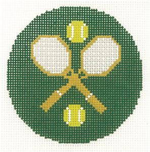 "Round~LEE Tennis Rackets & Balls 3"" Rd. handpainted Needlepoint Canvas Ornament"