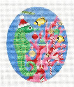 Oval -Seahorse Decorating Christmas Coral handpainted Needlepoint Canvas Scott Church ***SPECIAL ORDER***