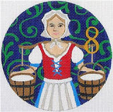 12 Days of Christmas 8 Maids Milking with STITCH GUIDE & HP Needlepoint canvas Juliemar