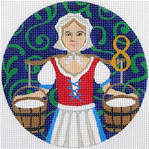 12 Days of Christmas 8 Maids with STITCH GUIDE & HP Needlepoint canvas Juliemar
