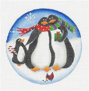 Round ~ Happy Penguin Family of 3 handpainted Needlepoint Canvas by Rebecca Wood