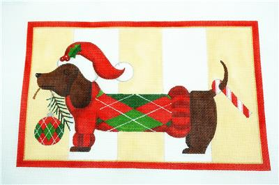 Canvas~ Dachshund Through the Snow Lovely Needlepoint Canvas by Raymond Crawford