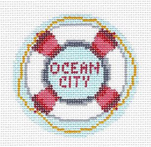 "Round~ 3""OCEAN CITY, NEW JERSEY Beach handpainted Needlepoint Canvas Needle Crossings"