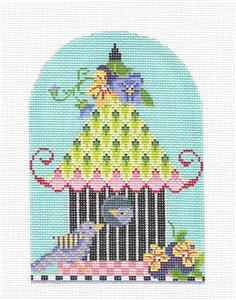 Kelly Clark - Birdhouse Pansy Pagoda handpainted Needlepoint Canvas by Kelly Clark