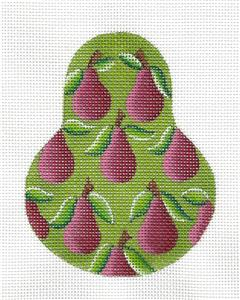 Kelly Clark Pear ~ Plum Bartlett Pears on Green handpainted Needlepoint Canvas & STITCH GUIDE