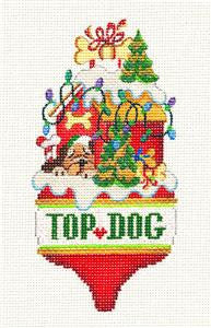 Ornament~Top Dog handpainted Needlepoint Canvas Ornaament by Strictly Christmas