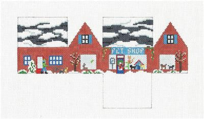 3D Pet Shop 3-D Building handpainted Needlepoint Ornament by Susan Roberts