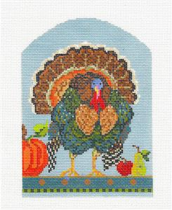 Kelly Clark -  Autumn WILD TURKEY handpainted Fall Needlepoint Canvas by Kelly Clark