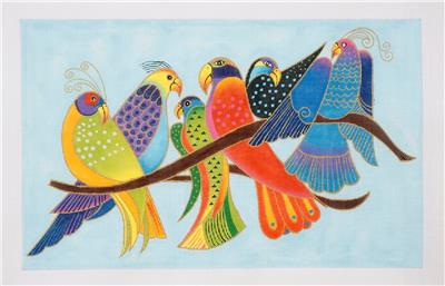Canvas-6 Tropical Songbirds handpainted Needlepoint Canvas by Laurel Burch ~Danji