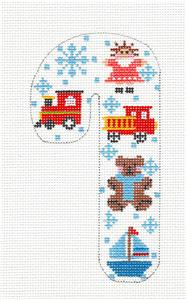 Medium Candy Cane SP.ORDER ~ Children's Toys MED. Candy Cane Ornament HP Needlepoint Canvas Danji