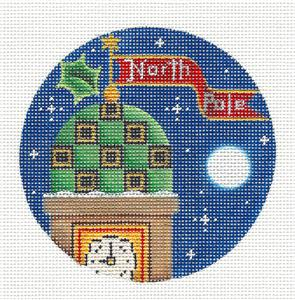 Round ~ North Pole Clock Tower Ornament handpainted Needlepoint Canvas Rebecca Wood