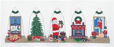 3D Santa on Christmas Eve 3-D Bell HP Needlepoint Canvas by Susan Roberts